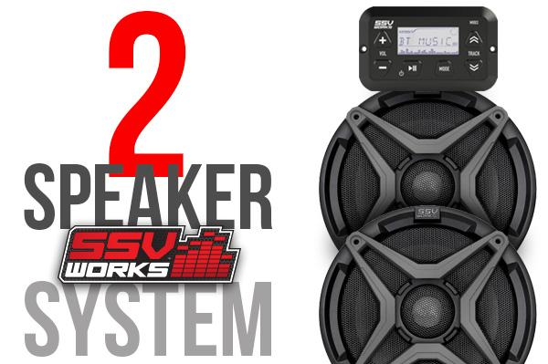 CAN-AM MAVERICK TRAIL AND SPORT 2 SPEAKER AUDIO SYSTEM-Stereo-SSV Works-Grey-Black Market UTV