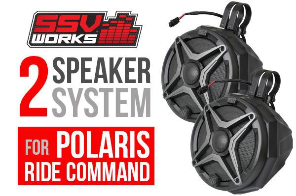 RZR Turbo S SSV Works 2 Speaker Cage Mount Plug & Play System - Ride Command-Stereo-SSV Works-Grey-Black Market UTV