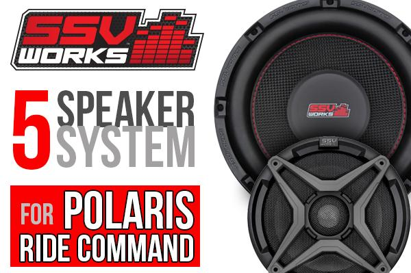 RZR Turbo S SSV Works 5 Speaker Plug & Play System - Ride Command-Stereo-SSV Works-Grey-Black Market UTV