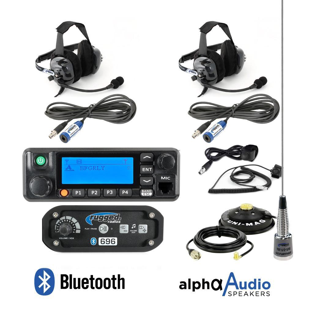 Rugged Radio - 696 Intercom with Digital Radio Complete Kit-Radio-Rugged Radio-2 Person-Behind-the-Head-Black Market UTV