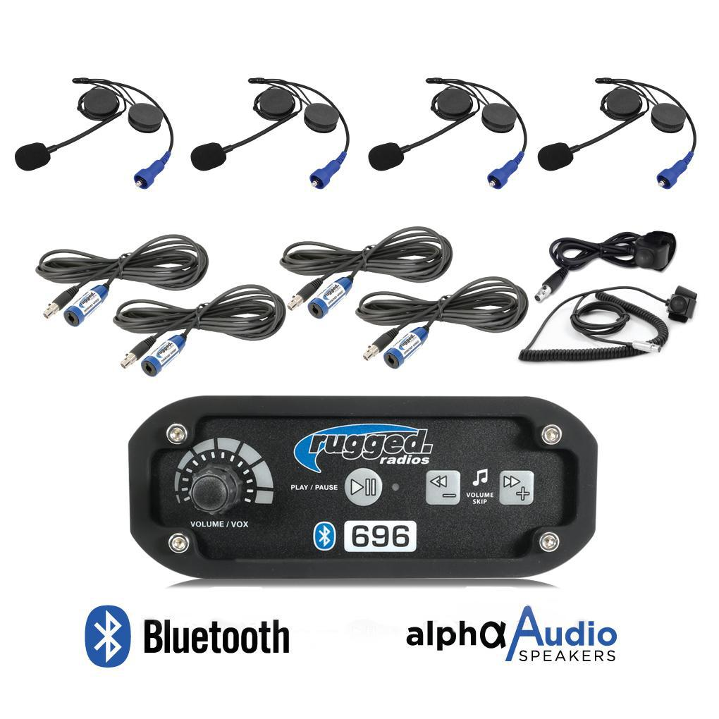 RRP696 4-Place Intercom System with Alpha Audio Helmet Kits-Intercom-Rugged Radio-Black Market UTV