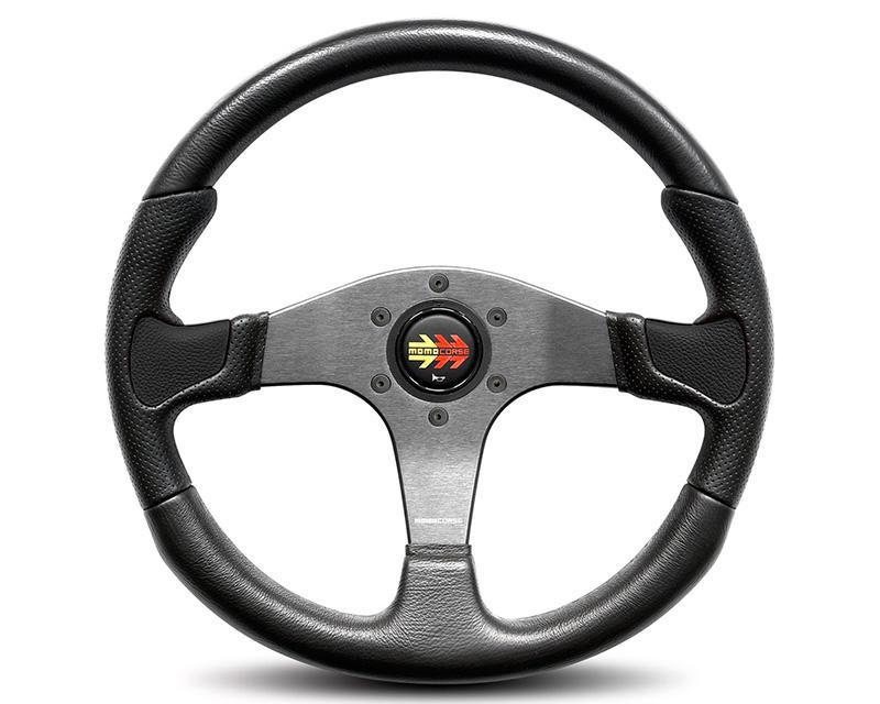 MOMO Devil Black Leather Steering Wheel-Steering Wheel-MOMO-Black Market UTV