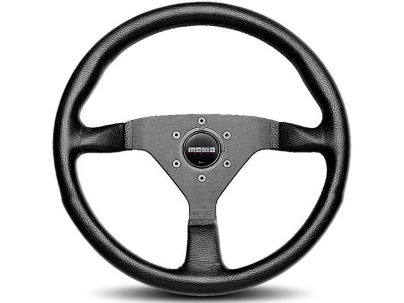 MOMO Monte Carlo Black Leather Steering Wheel-Steering Wheel-MOMO-320mm-Black Horn-Black Market UTV