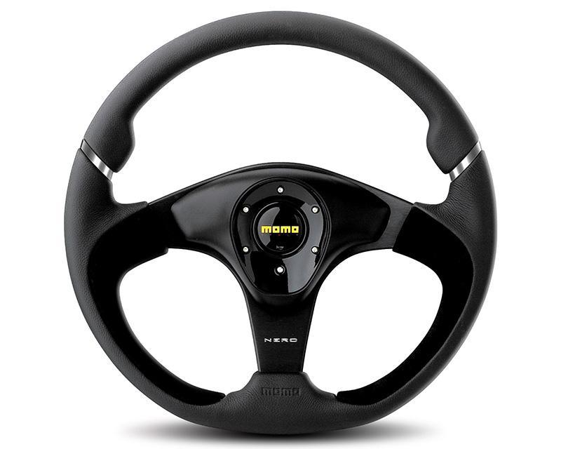 MOMO Nero Black Leather Steering Wheel-Steering Wheel-MOMO-Black Market UTV