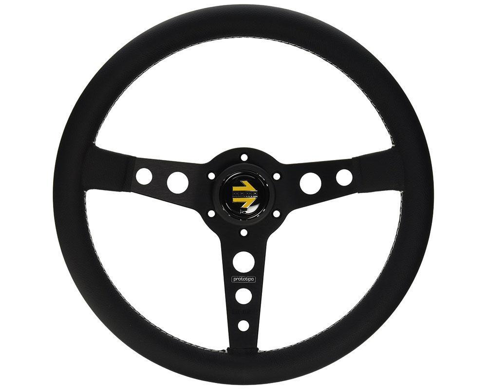 MOMO Prototipo 350 mm Leather Steering Wheel-Steering Wheel-MOMO-Black-Black Market UTV