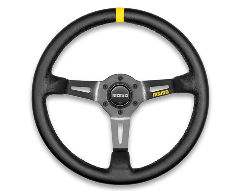 MOMO MOD.08 Steering Wheel-Steering Wheel-MOMO-Black Leather-Black Spoke-Black Market UTV