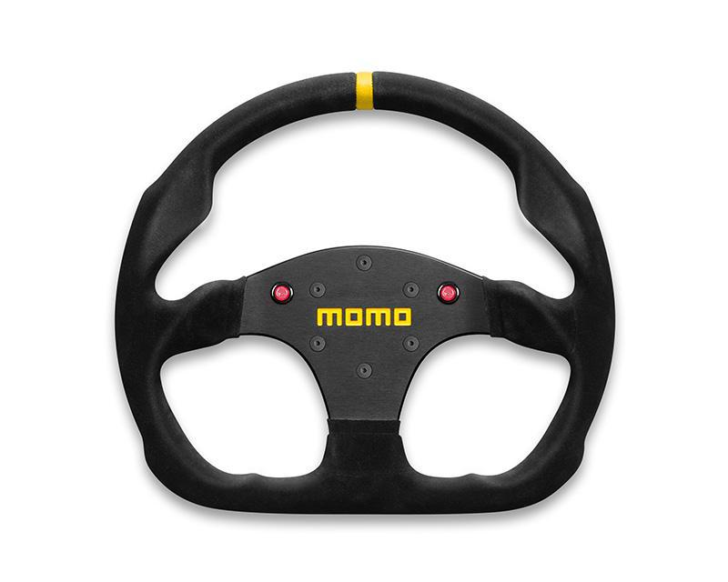 MOMO MOD.30 Black Suede with Buttons Steering Wheel-Steering Wheel-MOMO-Black Market UTV