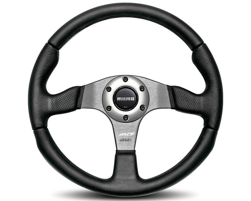 MOMO Race Black Leather Steering Wheel-Steering Wheel-MOMO-Black Market UTV