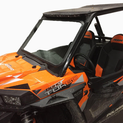 RZR Windshield-Chassis-Bent Metal Offroad-Red-With Stock Visor-Black Market UTV