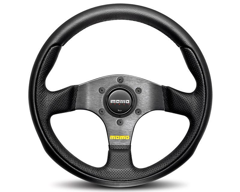 MOMO Team Black Leather Steering Wheel-Steering Wheel-MOMO-Black Market UTV