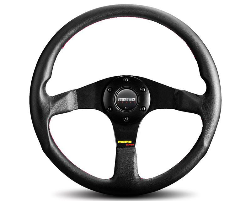 MOMO Tuner Black Leather Steering Wheel-Steering Wheel-MOMO-Black Market UTV