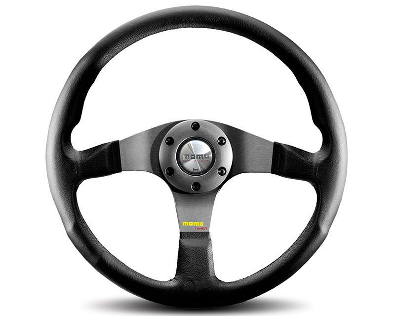 MOMO Tuner 350mm Black | Anthracite Leather Steering Wheel-Steering Wheel-MOMO-Black Market UTV