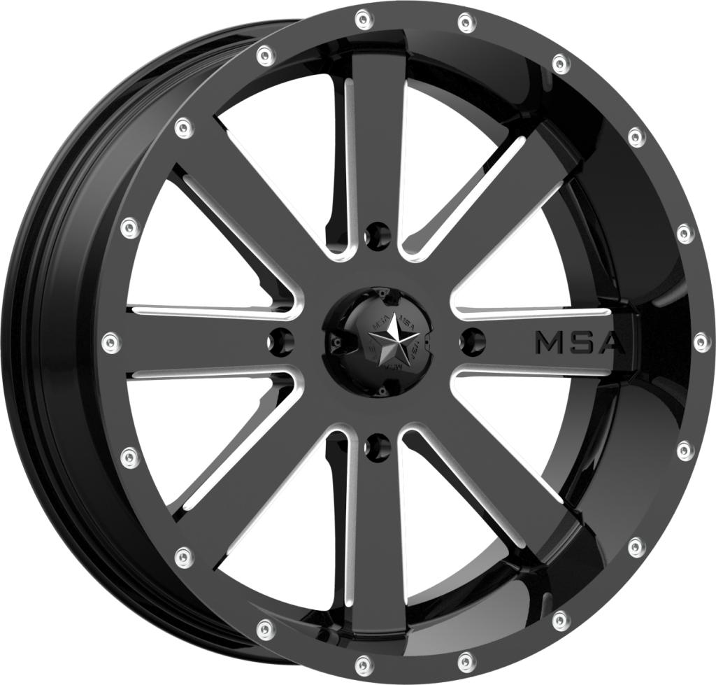 M34 Flash - Gloss Black Milled-Wheels-MSA-Can-am-18x7-4+3-Black Market UTV