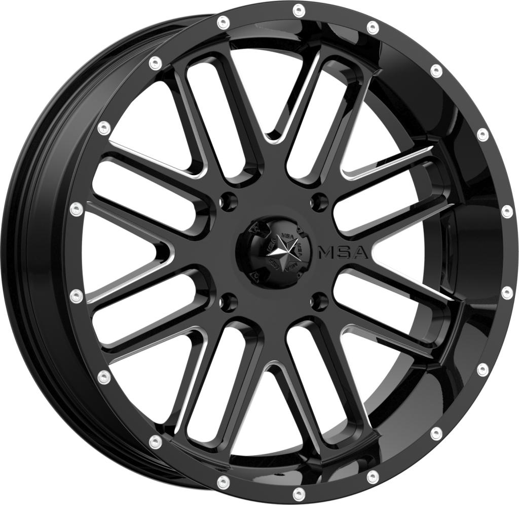 M35 Bandit - Gloss Black Milled-Wheels-MSA-Can-am-18x7-4+3-Black Market UTV