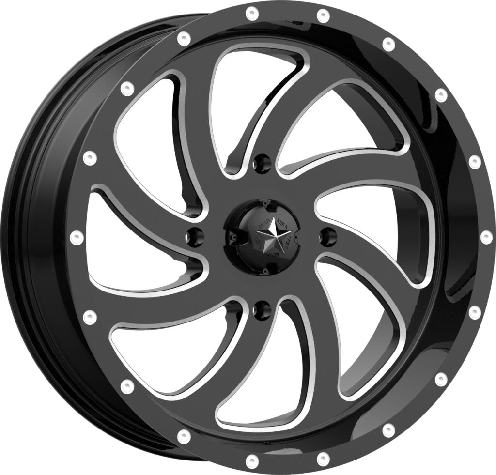M36 Switch - Gloss Black Milled-Wheels-MSA-Can-am-18x7-4+3-Black Market UTV