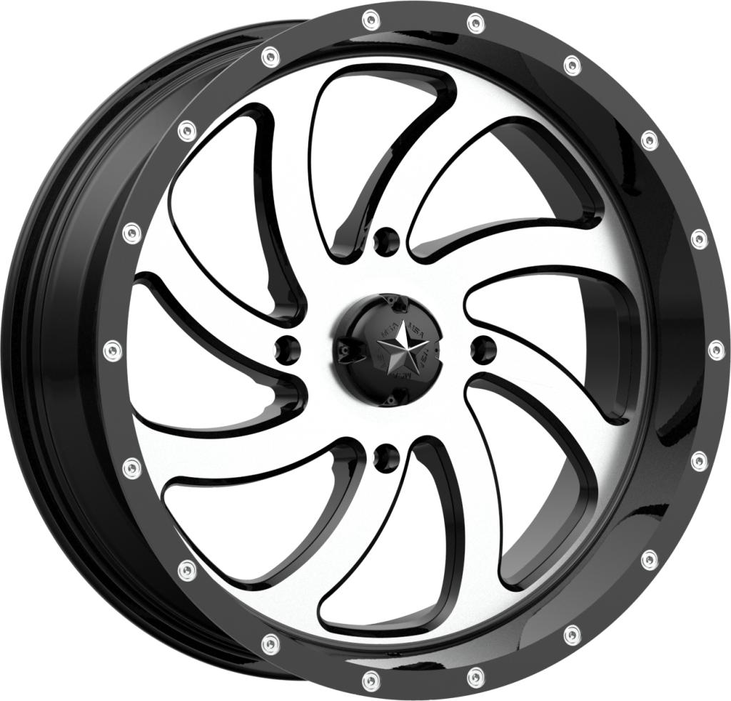 M36 Switch - Machined Gloss Black-Wheels-MSA-Can-am-18x7-4+3-Black Market UTV