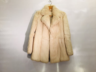 Vintage off-white rabbit fur coat - size 8/10