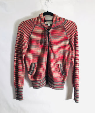 Classic MISSONI wool stripe hooded cardigan size S