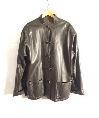 Amazing rare SHANGHAI TANG soft leather jacket, silk lining. UK size 42