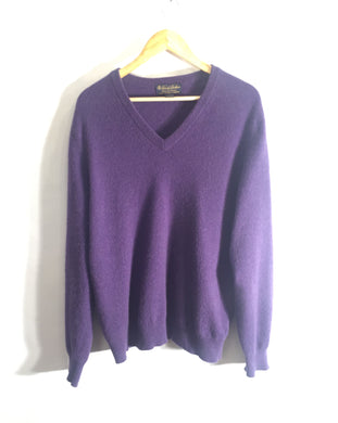 JEFF BANKS deep purple cotton-cashmere blend jumper. Size S-M