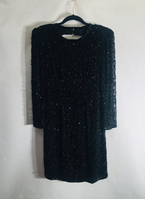 Authentic vintage JOAN LESLIE cocktail dress, 1970s, silk and beading. Size 12-14 UK