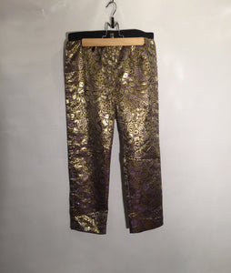 MARNI party trousers, purple and gold pattern, stretch waistband. Size 8 - 10 UK