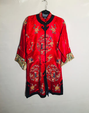 Antique Chinese silk embroidered gown/long jacket. Size S-M.