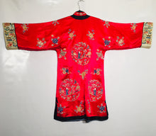 Load image into Gallery viewer, Antique Chinese silk embroidered gown/long jacket. Size S-M.