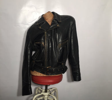 AMI leather luxury perfecto jacket, dark brown. M/W size S to L