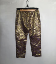 Load image into Gallery viewer, MARNI party trousers, purple and gold pattern, stretch waistband. Size 8 - 10 UK