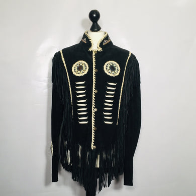 Rocker or festival jacket in fringed suede, leather, beaded. Size M-L, M/W