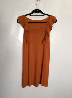JOSEPH lightweight wool frock with gentle flounces, rust-orange shade. Size M-L