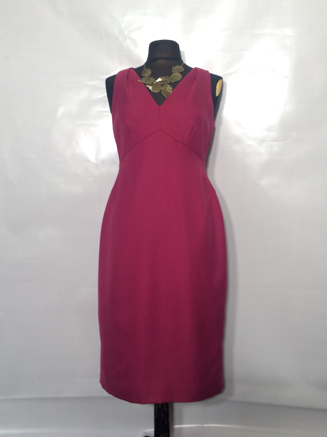 L K BENNETT fuschia wool blend perfect shift. Size 10