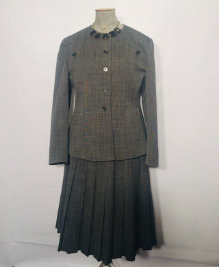 Christian DIOR vintage wool jacket-skirt suit. Size M-L