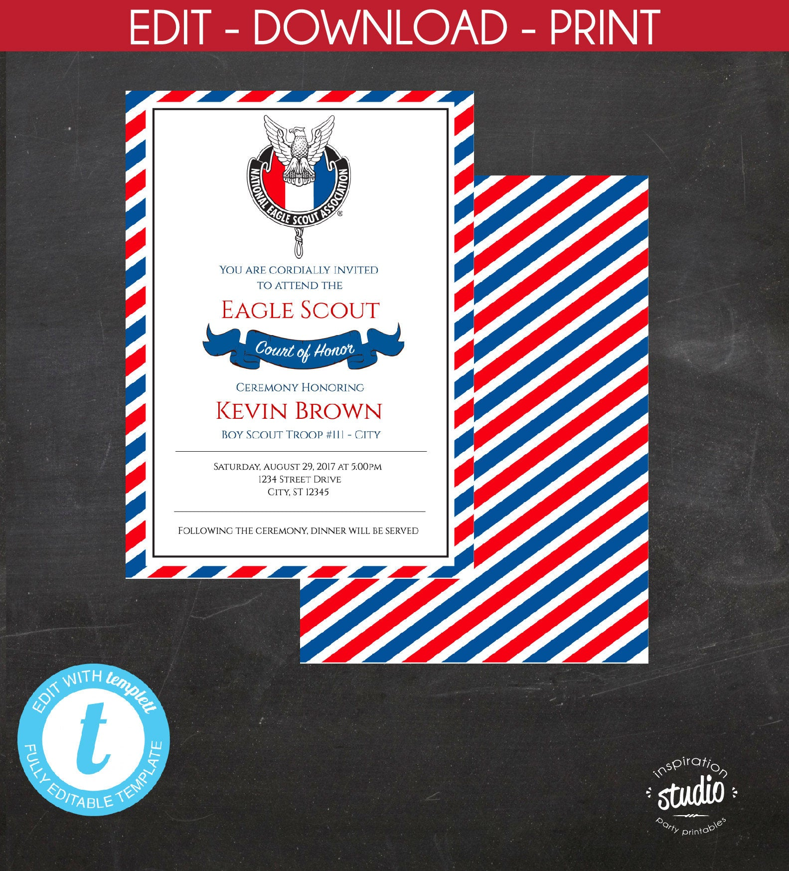 Eagle Scout Court Of Honor Invitation Boy Custom