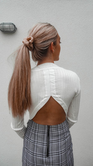 Bella Cropped Knit Sweater - White