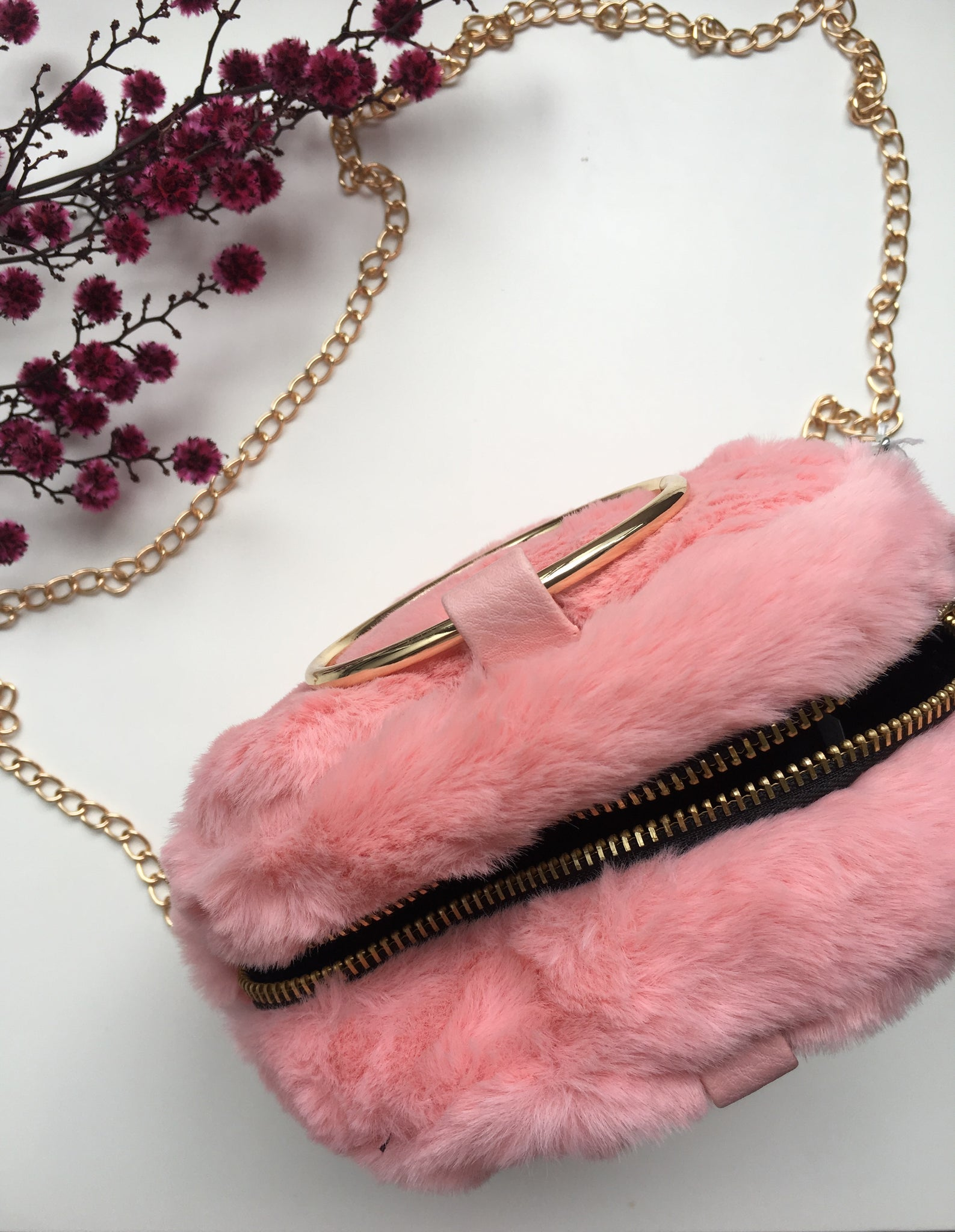 Gold Chain Faux Fur Bag