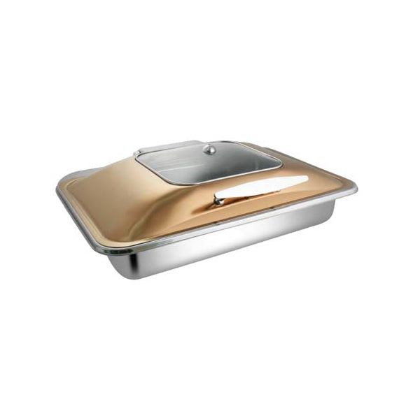 Rectangular Rose Gold Sq. Glass Chafer