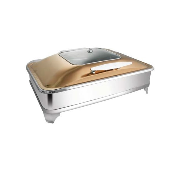 Rectangular Rose Gold Sq. Glass Chafer W/ E.E. & Frame