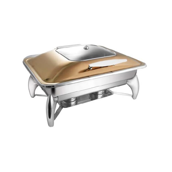 Rectangular Rose Gold Sq. Glass Lid Chafer W/ Smart Legs