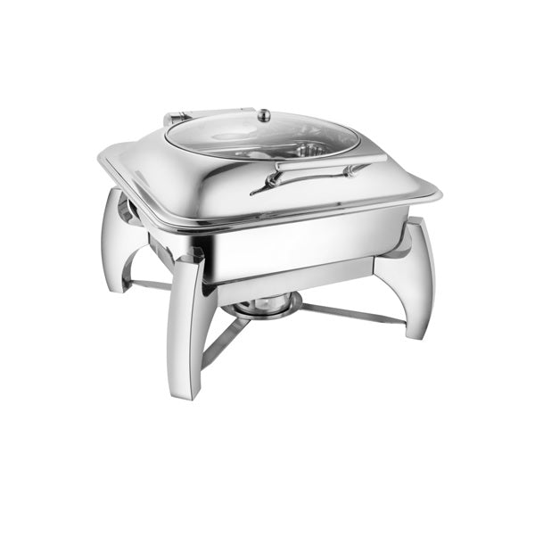 Square Glass Lid Chafer W/ Grand Legs