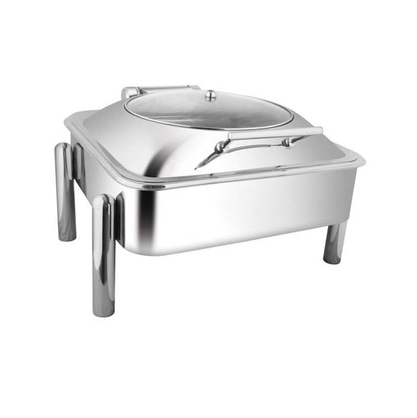 Square Glass Lid Chafer W/Pipe Legs