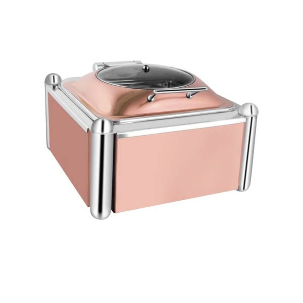 Square Rose Gold Glass Chafer W/Rose Gold Pillar Stand