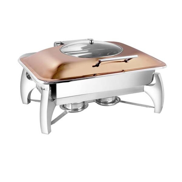 Rectangular Rose Gold Glass Lid Chafer W/ Grand Legs