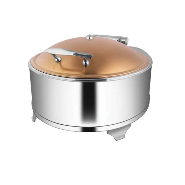 Round Rose Gold Chafer W/Fuel Frame