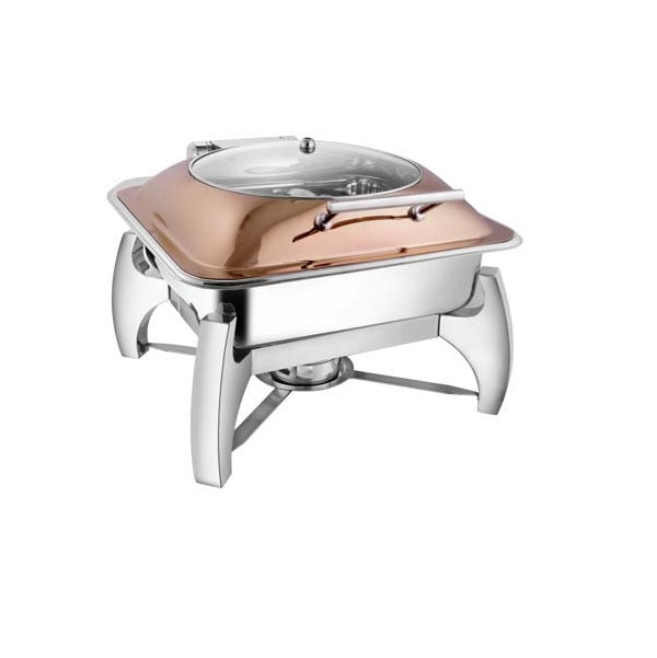 Square Rose Gold Glass Lid Chafer W/ Grand Legs