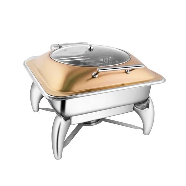 Square Rose Gold Glass Lid Chafer W/Smart Legs