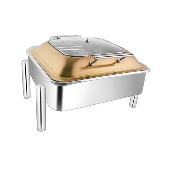 Square Rose Gold Sq.Glass Lid Chafer W/Pipe Legs
