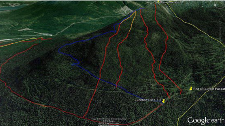backcountry snowmobiling access terrain map