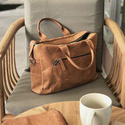 DB94 | Laptop Bag (Premium Light Aniline Leather) - Bagspace